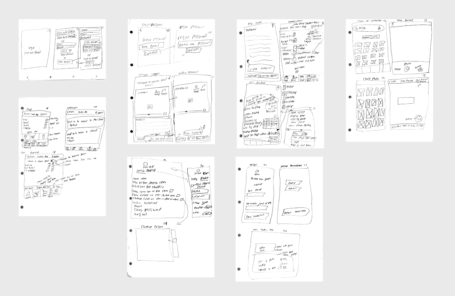 sketches of how app will work